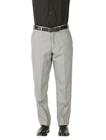 Style# Men's Wool Blend Adjustable Wiast Stain Defender Modern Fit Dress Pants No Pleated - Cheap Priced Dress Slacks For Men On Sale