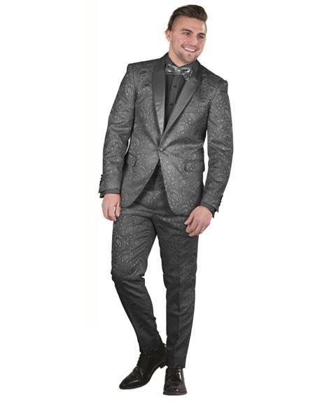 Brand: Falcone Suits Mens Black  Paisley Floral Prom ~ Wedding Suit