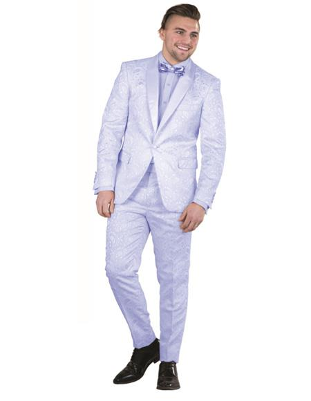 Mens Blue Single Breasted Suit