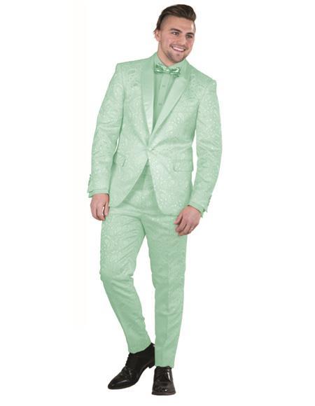 Mens Green Paisley Floral Prom ~ Wedding Paisley Floral Prom ~ Wedding Suit