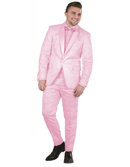 Mens Raspberry One Button  Paisley Floral Prom ~ Wedding Suit
