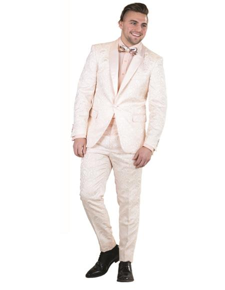 Mens toast One Button Single Breasted  Paisley Floral Prom ~ Wedding Suit