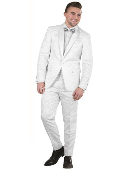 Mens Single Breasted White One Button  Suit