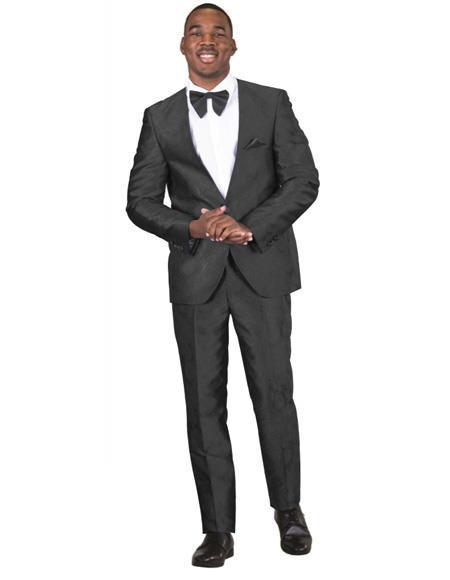 Mens Black Paisley Floral Prom ~ Wedding Suit One Button