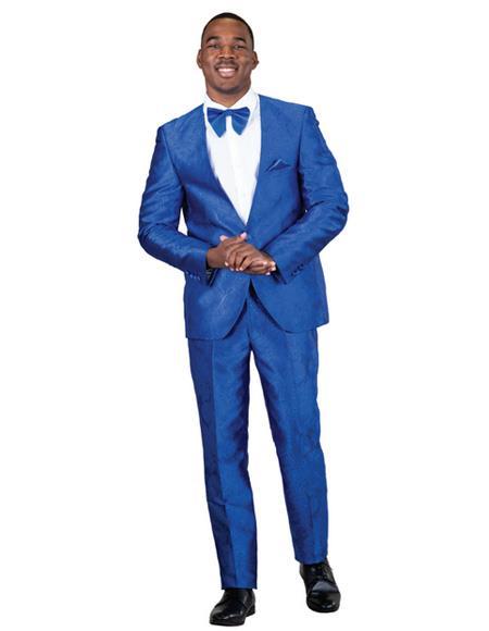 Mens Blue One Button  Paisley Floral Prom ~ Wedding Suit