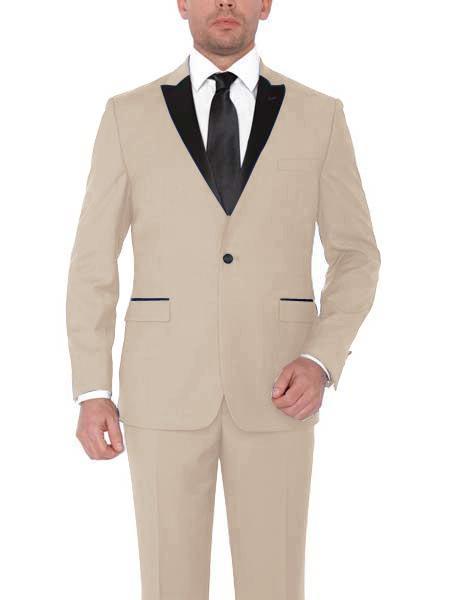 Tan ~ Beige ~ Sand Color Peak Lapel Tuxedo Vested 3 Piece Suit By Alberto Nardoni Tux Formalwear