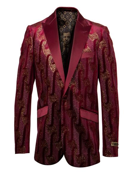 Mens Burgundy and Gold One Chest Pocket Casual Blazer On Sale