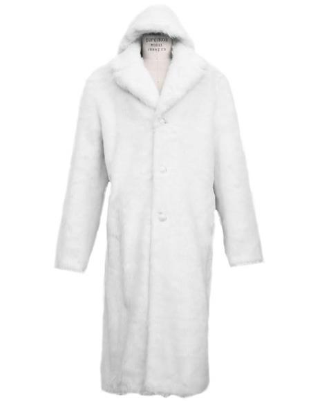 Mens Long Length Faux Fur Coat Full Length Overcoat ~ Long Mens Dress Topcoat -  Winter coat + Matching Hat Arctic White