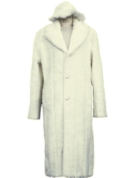 60s 70s Men's Jackets & Sweaters Mens Long Length Faux Fur Coat Full Length Matching Hat Off White $285.00 AT vintagedancer.com