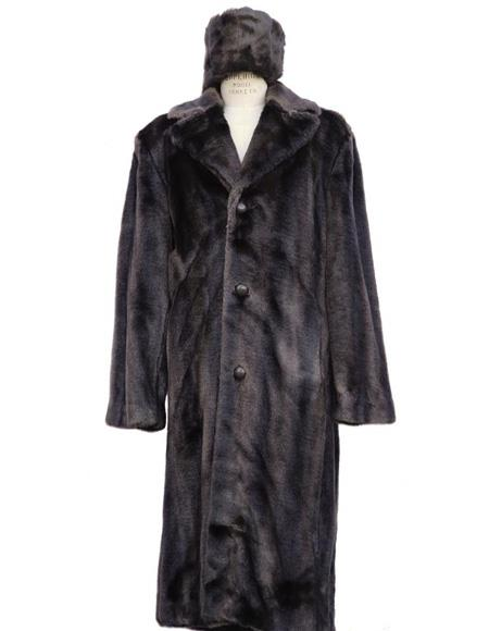 Mens Long Length Faux Fur Coat Full Length Overcoat ~ Topcoat + Matching Hat Brown