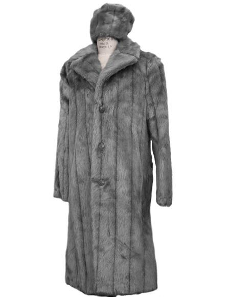 Men's Vintage Jackets & Coats Long Length Faux Fur Coat Full Length Topcoat  Matching Hat Grey $285.00 AT vintagedancer.com