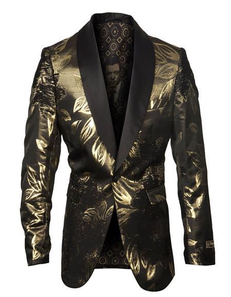 Men's Cheap Priced Designer Fashion Dress Casual Blazer On Sale Shawl Lapel Fancy Floral Pattern Gold Blazer
