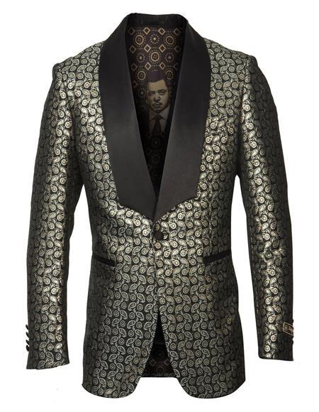 Mens Cheap Priced Designer Fashion Dress Casual Blazer On Sale Shawl Lapel Fancy Pattern Gold Blazer