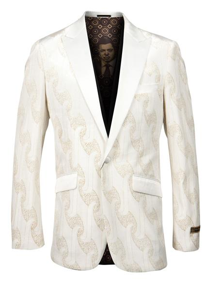 Mens Off White and Gold Fancy Pattern Blazer