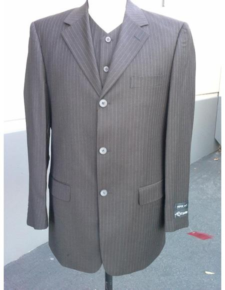 3 Buttons 100% Wool Cheap Priced Business Suits Clearance Sale Pleated Pants Three Buttons Style High Vest  Brown Pinstripe Stripe
