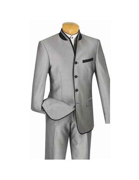 Mens Slim Fit Single Breasted Banded Collar Four Button Gray Suit