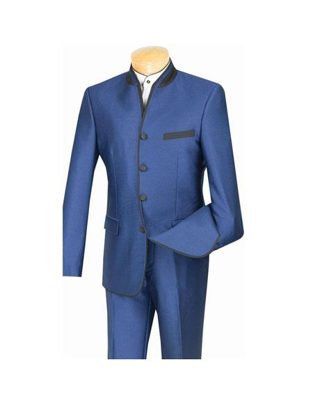 Mens Four Button Single Breasted Banded Collar Slim Fit Blue Suit