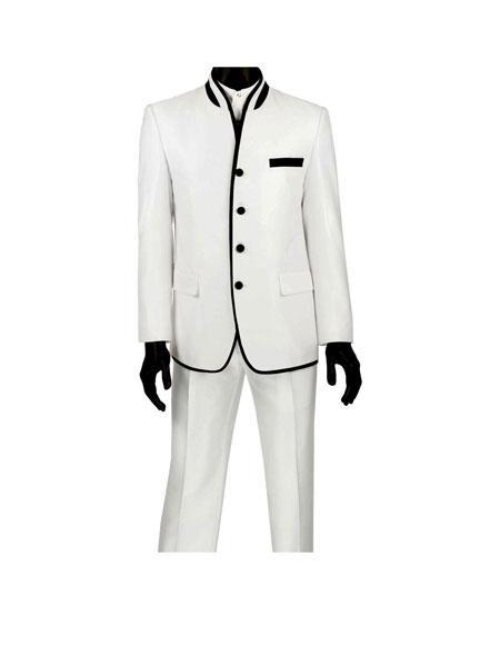 Men's  Four Button Banded Collar Slim Fit White Suit