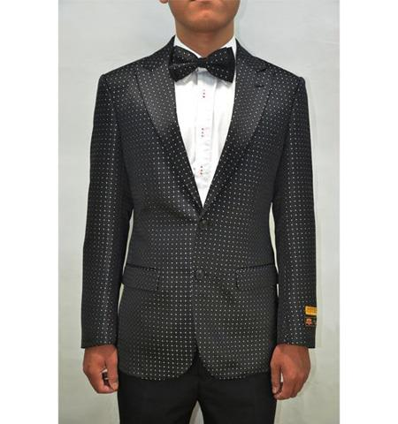 Black and White or Navy Men's Blazer Sport Jacket Fancy Fashion Pin Dots With polka dot pattern!