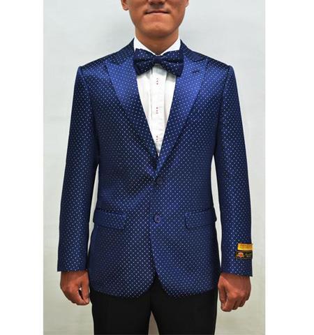 Men's Royal Blue Two Button Fancy Fashion Pin Dots With polka Blazer