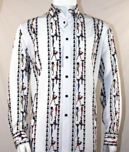 Mens Fashion Full Cut Long Sleeve White Shirt