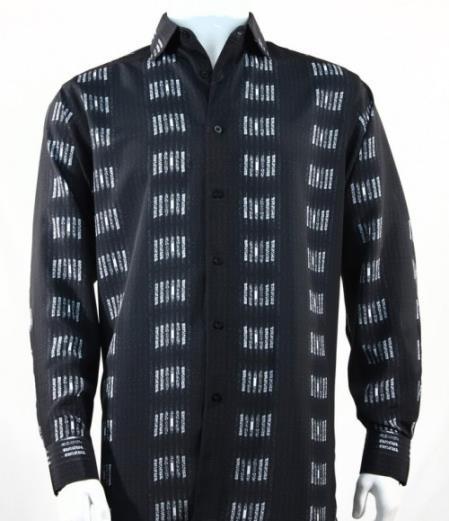 Mens Fashion Full Cut Long Sleeve Squares Stripe Black Shirt
