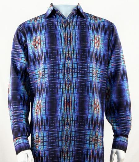 Mens Full Cut Long Sleeve  Royal Blue Fashion Shirt