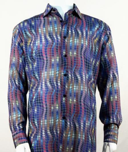 Mens Full Cut Long Sleeve Fuschia Houndstooth Fashion Shirt