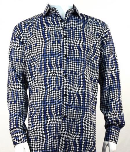 Mens Full Cut Long Houndstooth Fashion Shirt