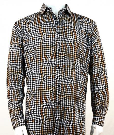 Mens Full Cut Long Sleeve Copper Houndstooth Fashion Shirt