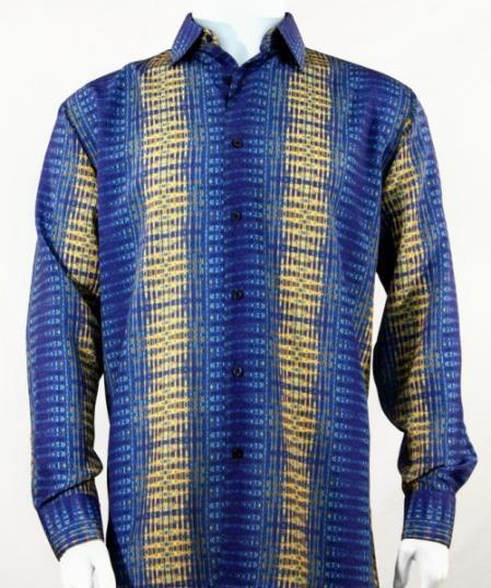 Mens Full Cut Long Stripe Blue Fashion Shirt