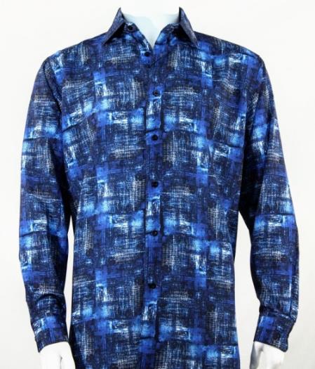 Mens Full Cut Long Sleeve Pattern Blue Fashion Shirt
