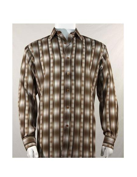 Mens Full Cut Long Sleeve Pattern Stripe Brown Fashion Shirt