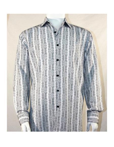 Mens Full Cut Long Sleeve Mini Dots Black ~ White Fashion Shirt