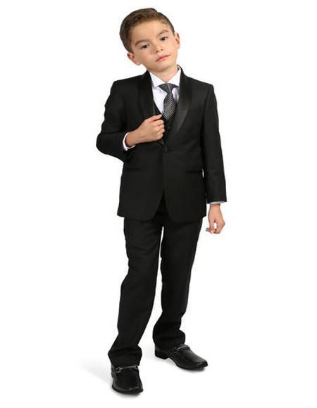 Men's Boys Shawl Lapel  Black Tuxedo Set Perfect for wedding  attire outfits - Toddler Suit