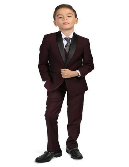 Men's Boys Shawl Lapel Burgundy Tuxedo Set Perfect for wedding  attire outfits - Toddler Suit