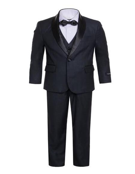 Men's Boys Shawl Lapel  Dark Navy Tuxedo Set Perfect for wedding  attire outfits - Toddler Suit