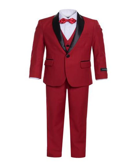 Mens Boys Shawl Lapel Single Breasted Red Tuxedo Set Perfect for toddler wedding  attire outfits