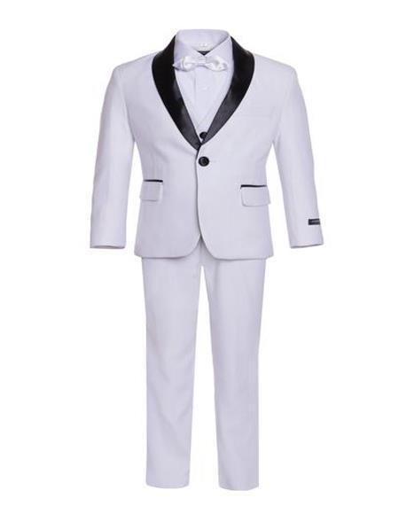 Men's Boys Shawl Lapel White Tuxedo Set Perfect for  wedding  attire outfits - Toddler Suit