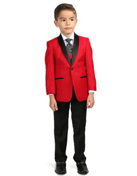 Men's Boys Shawl Lapel  Red/Black Tuxedo Set Perfect for wedding  attire outfits - Toddler Suit - Red Tuxedo