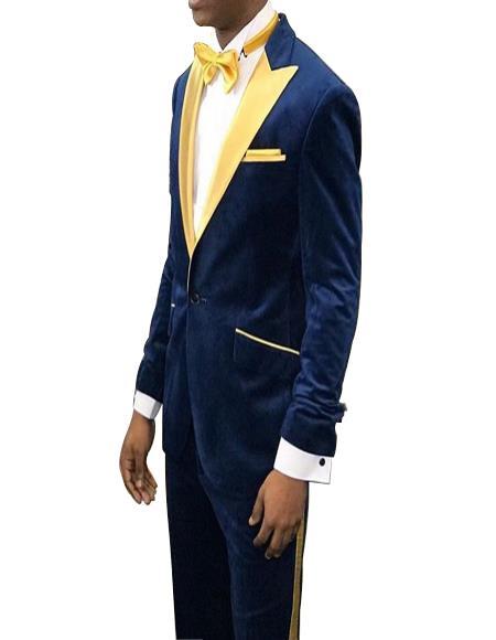 Navy Blue Velvet With Gold Lapel Tuxedo