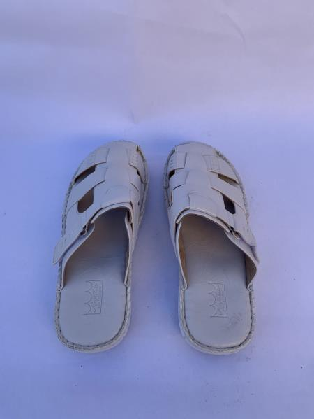 Mens Leather White Sandals
