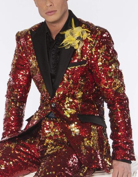 Mens Red and Gold Sequin Cheap Priced Blazer Jacket For Men Sport Coat Tuxedo Dinner Jacket - Red Tuxedo