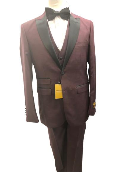 Mens Burgundy  Burgundy Suit Two Button Suit