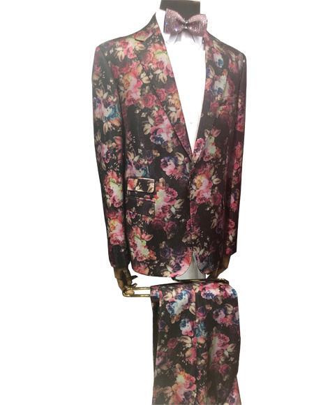 Men's Brown Floral Pattern Button Closure  Suit