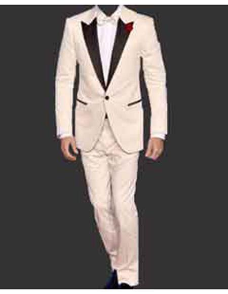 Men's Cream  Peak Lapel One Button Blazer
