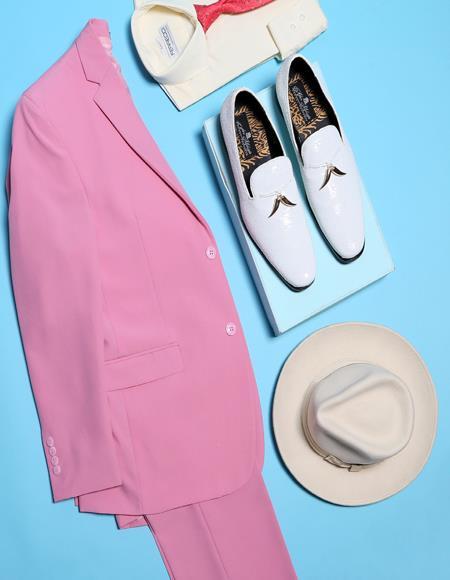 Men's Pink One Button Closure Designer Fashion Dress Casual Blazer