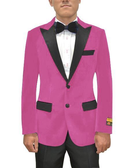Mens Fuchsia One Ticket Pocket Two Button Cheap Priced Designer Fashion Dress Casual Blazer On Sale Blazer