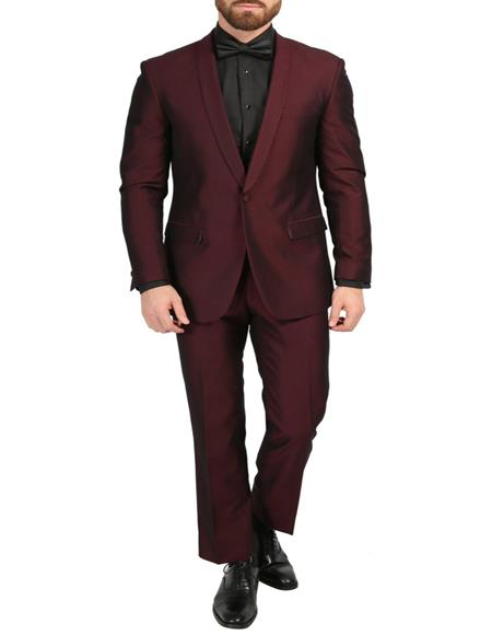 Men's Burgundy 3-Piece Slim Fit Shawl Tuxedo
