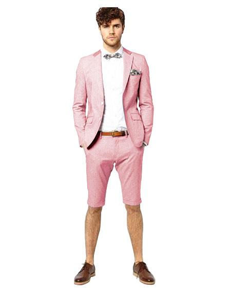 Mens Suit For Men Single Breasted Pink Notch Lapel